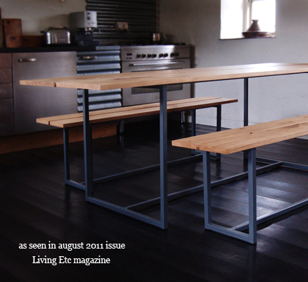 oak edge - oak & slate dining table with benches