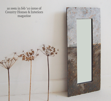 medium reclaimed cornish slate potrait mirror